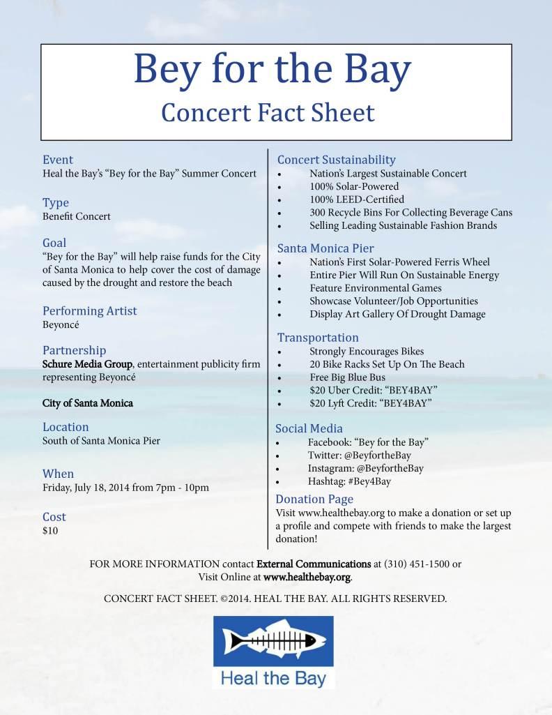 Concert Fact Sheet